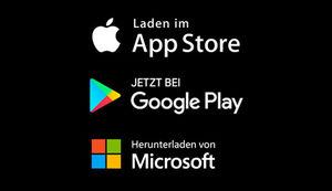 App Store, Play Store und Windows Phone Store Badges